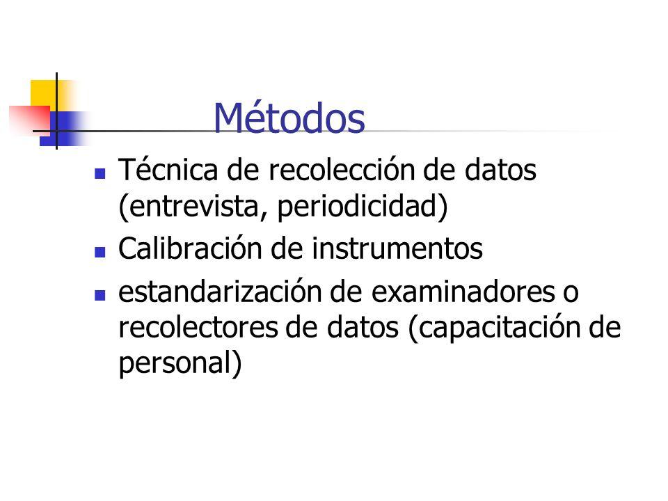 Métodos Técnica de recolección de datos (entrevista, periodicidad) Calibración de instrumentos estandarización de examinadores o recolectores de datos