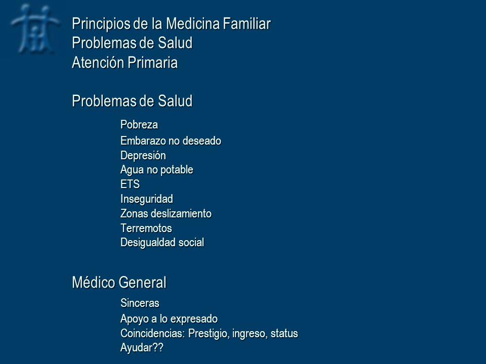 Principios de la Medicina Familiar Problemas de Salud Atención Primaria Problemas de Salud Pobreza Embarazo no deseado Depresión Agua no potable ETS I