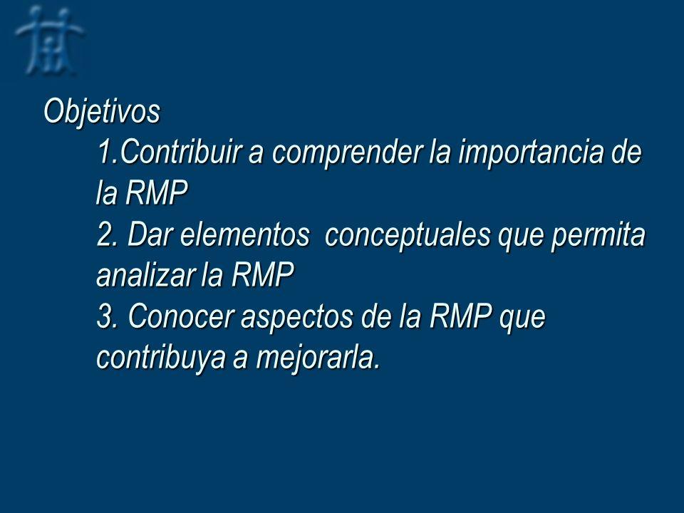 Objetivos 1.Contribuir a comprender la importancia de la RMP 2. Dar elementos conceptuales que permita analizar la RMP 3. Conocer aspectos de la RMP q