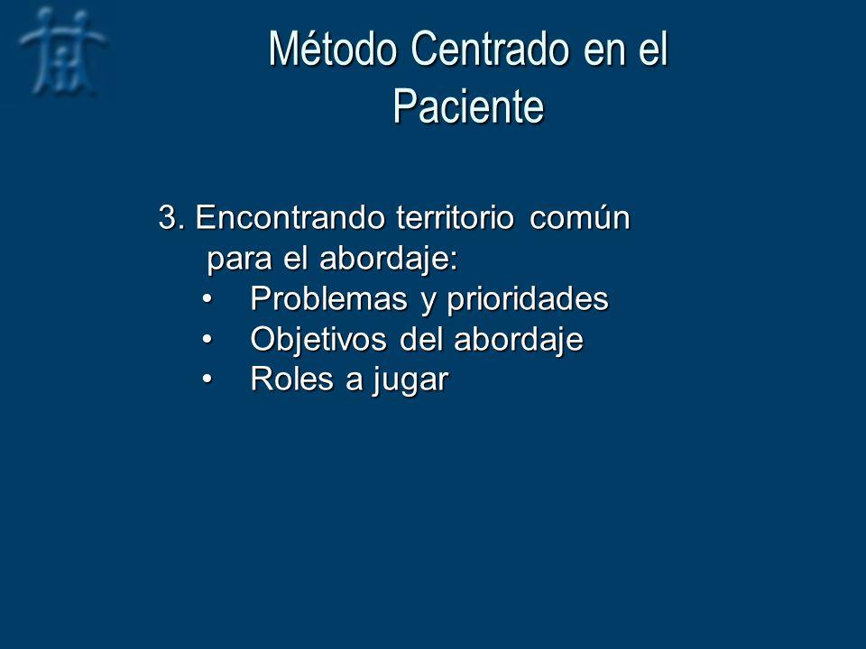 Método Centrado en el Paciente 3. Encontrando territorio común para el abordaje: Problemas y prioridadesProblemas y prioridades Objetivos del abordaje