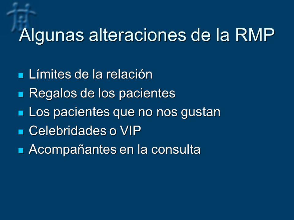 Algunas alteraciones de la RMP Límites de la relación Límites de la relación Regalos de los pacientes Regalos de los pacientes Los pacientes que no nos gustan Los pacientes que no nos gustan Celebridades o VIP Celebridades o VIP Acompañantes en la consulta Acompañantes en la consulta