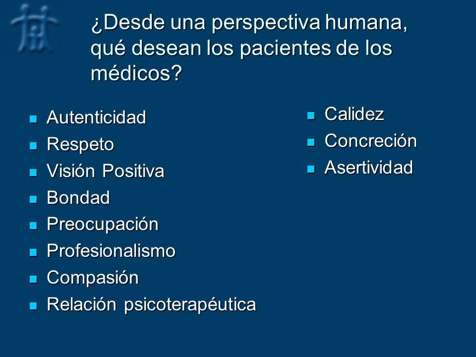 ¿Desde una perspectiva humana, qué desean los pacientes de los médicos? Autenticidad Autenticidad Respeto Respeto Visión Positiva Visión Positiva Bond