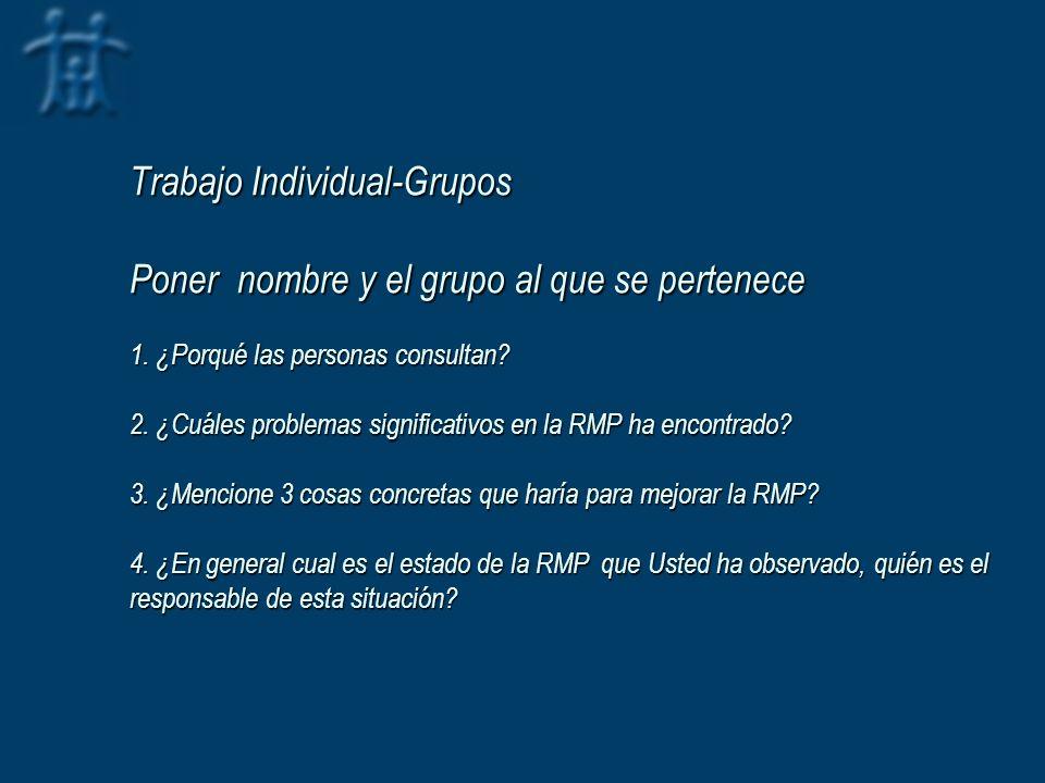 Trabajo Individual-Grupos Poner nombre y el grupo al que se pertenece 1. ¿Porqué las personas consultan? 2. ¿Cuáles problemas significativos en la RMP