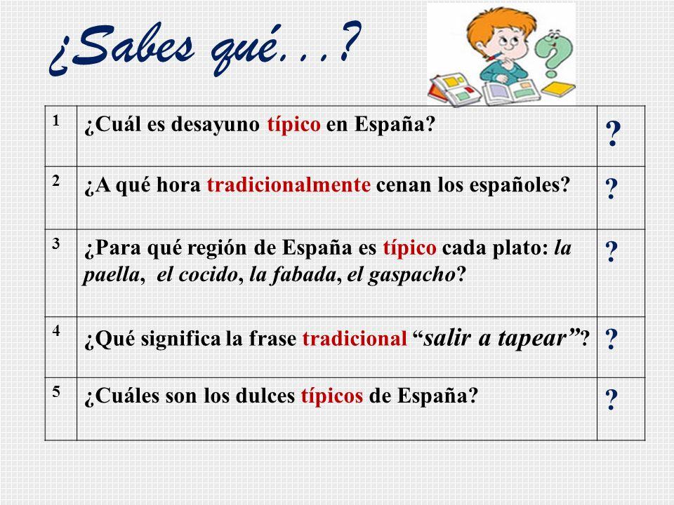¿Sabes qué...? 1 ¿Cuál es desayuno típico en España? ? 2 ¿A qué hora tradicionalmente cenan los españoles? ? 3 ¿Para qué región de España es típico ca