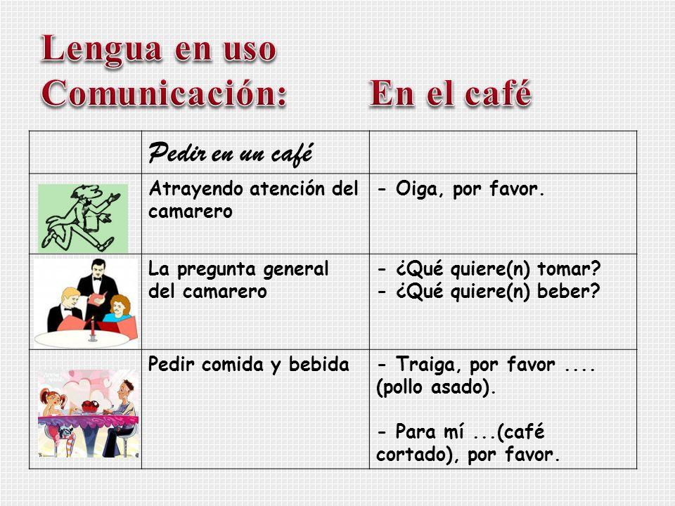 Pedir en un café Atrayendo atención del camarero - Oiga, por favor. La pregunta general del camarero - ¿Qué quiere(n) tomar? - ¿Qué quiere(n) beber? P