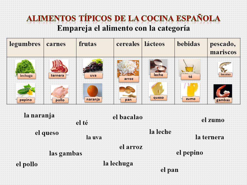 legumbrescarnesfrutascerealeslácteosbebidaspescado, mariscos el bacalao el zumo la naranja el pepino el arroz la ternera la lechuga la leche el queso