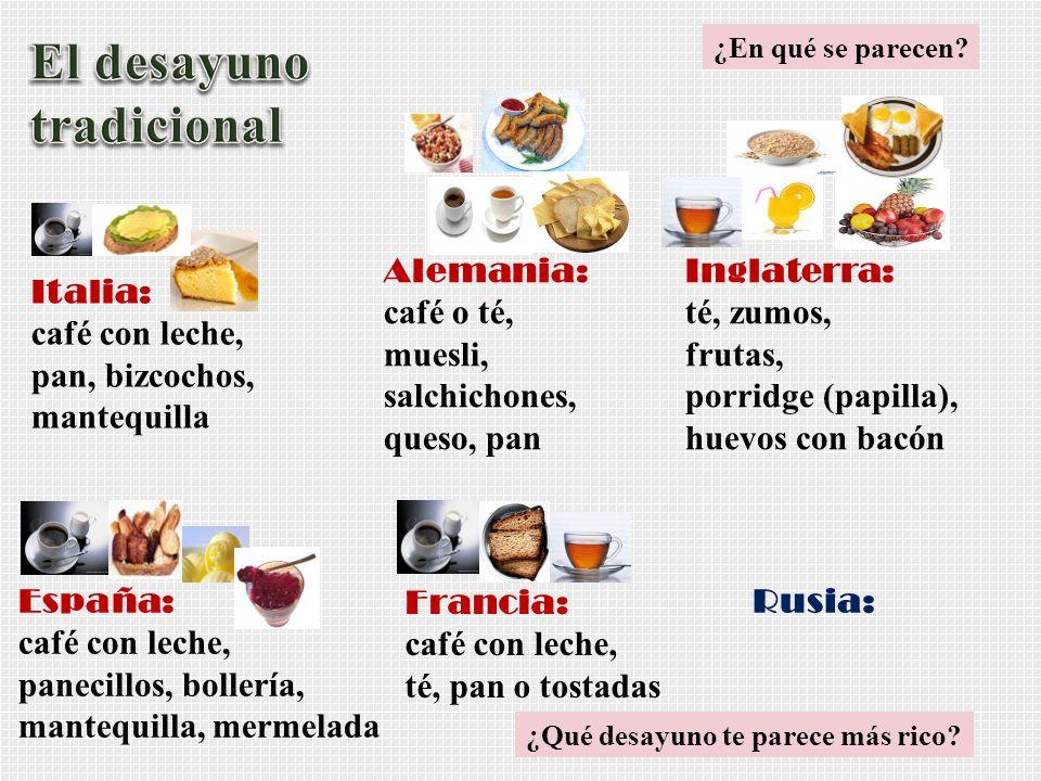 Italia: café con leche, pan, bizcochos, mantequilla Alemania: café o té, muesli, salchichones, queso, pan Inglaterra: té, zumos, frutas, porridge (pap
