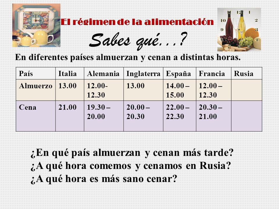 En diferentes países almuerzan y cenan a distintas horas. PaísItaliaAlemaniaInglaterraEspañaFranciaRusia Almuerzo13.0012.00- 12.30 13.0014.00 – 15.00