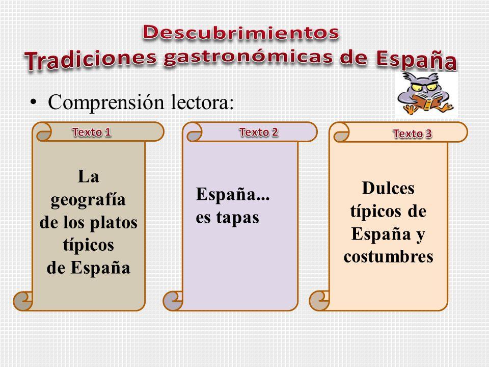 Comprensión lectora: La geografía de los platos típicos de España Dulces típicos de España y costumbres España... es tapas