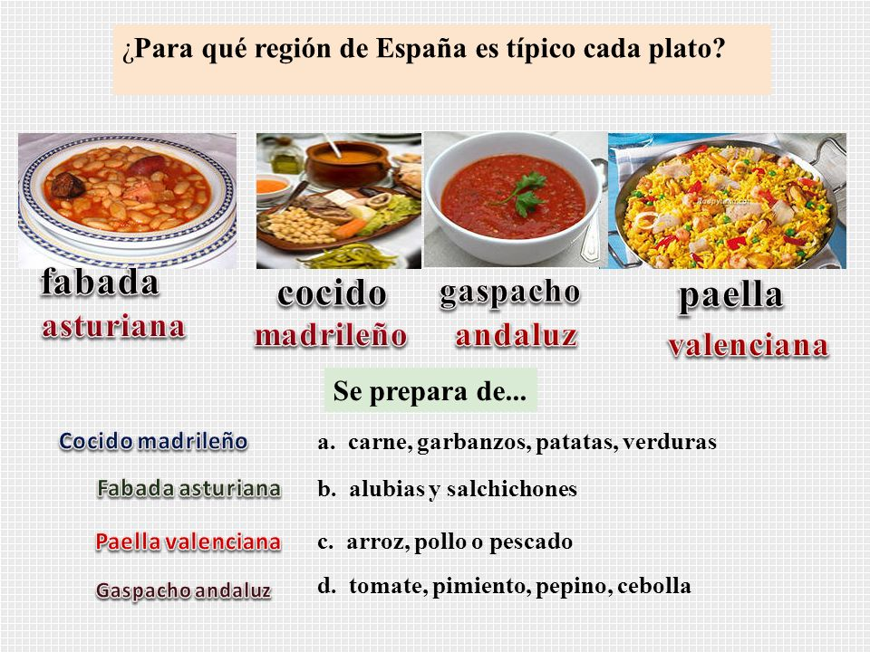 ¿Para qué región de España es típico cada plato? Se prepara de... a. carne, garbanzos, patatas, verduras b. alubias y salchichones c. arroz, pollo o p