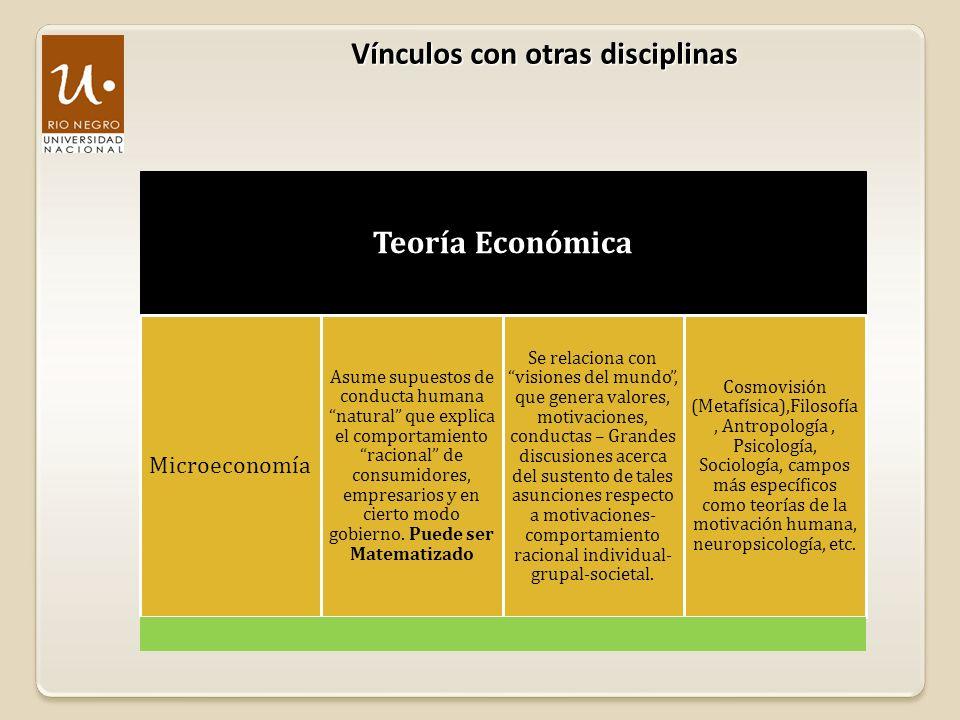 Vínculos con otras disciplinas Teoría Económica Macroeconomía Estudia los grandes agregados económicos Ahorro Inversión Consumo Gasto e Ingreso público PBI Balanza comercial y de pagos Oferta y Demanda Monetaria Puede o no ser vinculado en un cuerpo teórico común con la microeconomía.