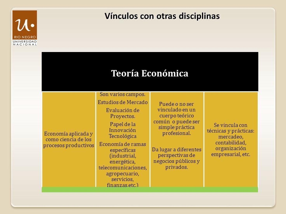 Vínculos con otras disciplinas Teoría Económica Economía aplicada y como ciencia de los procesos productivos Son varios campos. Estudios de Mercado Ev