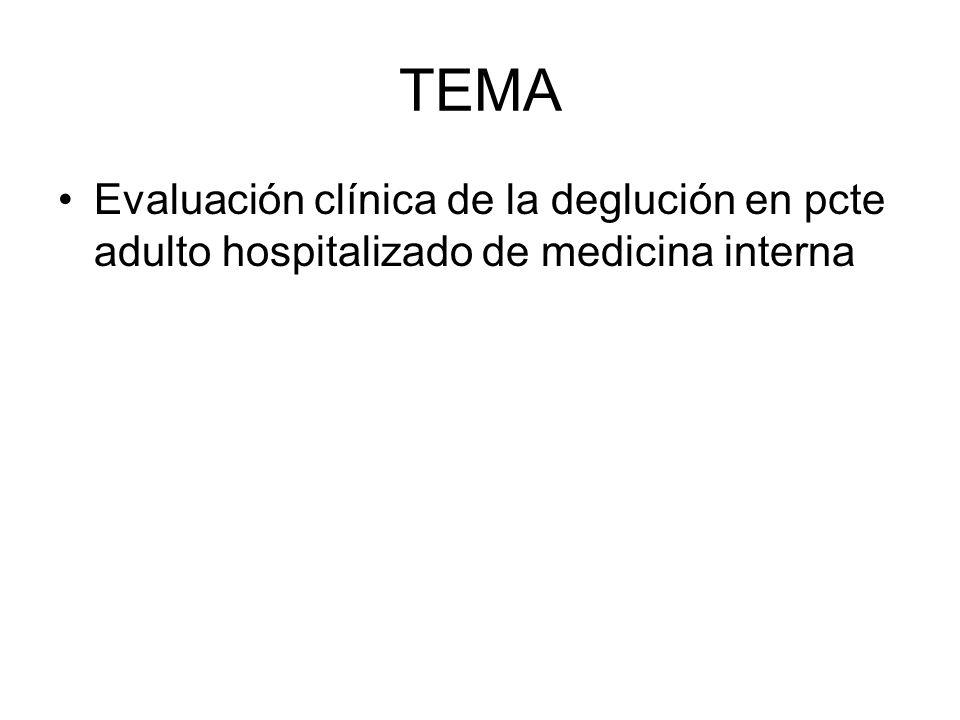 TEMA Evaluación clínica de la deglución en pcte adulto hospitalizado de medicina interna
