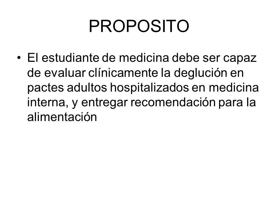 PROPOSITO El estudiante de medicina debe ser capaz de evaluar clínicamente la deglución en pactes adultos hospitalizados en medicina interna, y entregar recomendación para la alimentación