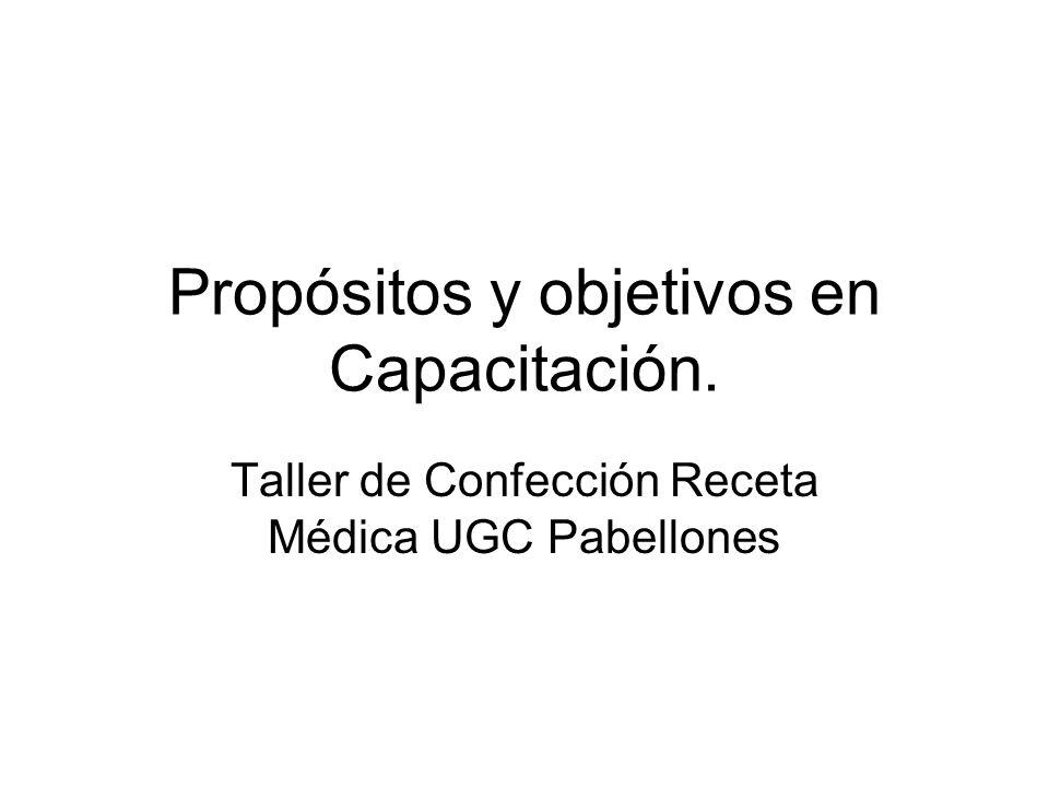 Propósitos y objetivos en Capacitación. Taller de Confección Receta Médica UGC Pabellones