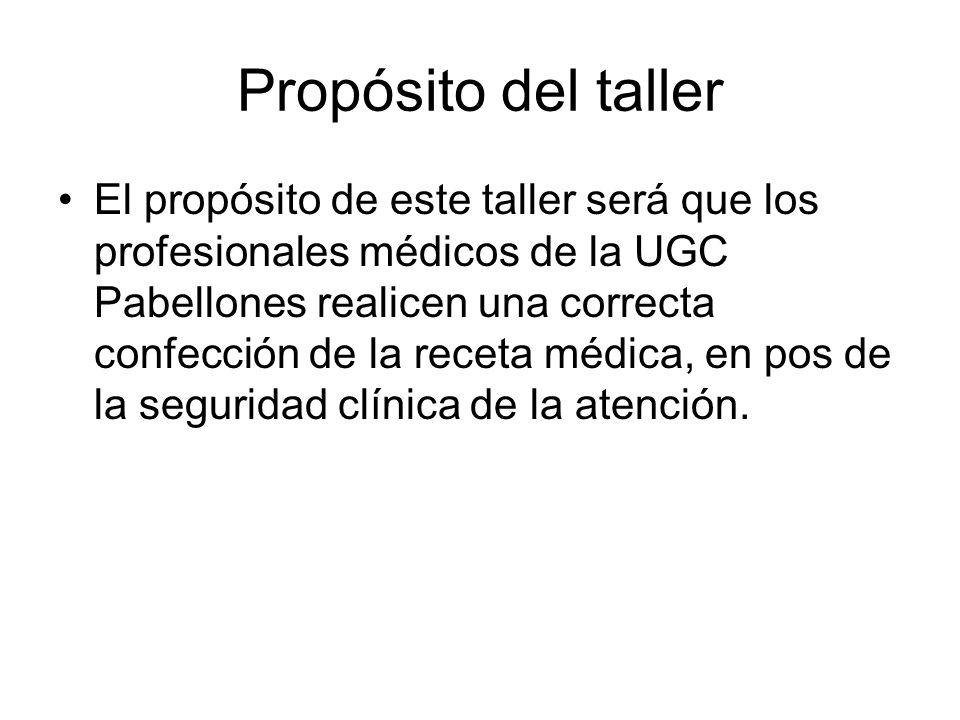 Propósito del taller El propósito de este taller será que los profesionales médicos de la UGC Pabellones realicen una correcta confección de la receta médica, en pos de la seguridad clínica de la atención.