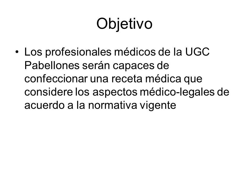 Objetivo Los profesionales médicos de la UGC Pabellones serán capaces de confeccionar una receta médica que considere los aspectos médico-legales de acuerdo a la normativa vigente