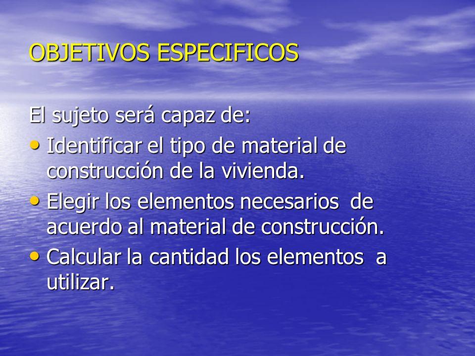 OBJETIVOS ESPECIFICOS El sujeto será capaz de: Identificar el tipo de material de construcción de la vivienda. Identificar el tipo de material de cons