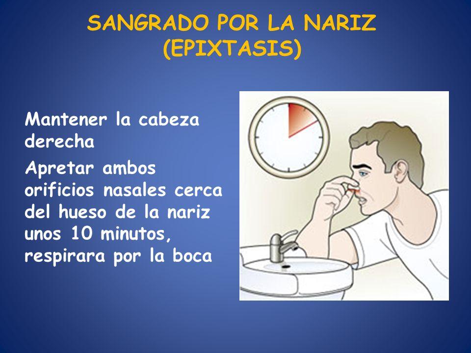 SANGRADO POR LA NARIZ (EPIXTASIS) Mantener la cabeza derecha Apretar ambos orificios nasales cerca del hueso de la nariz unos 10 minutos, respirara po