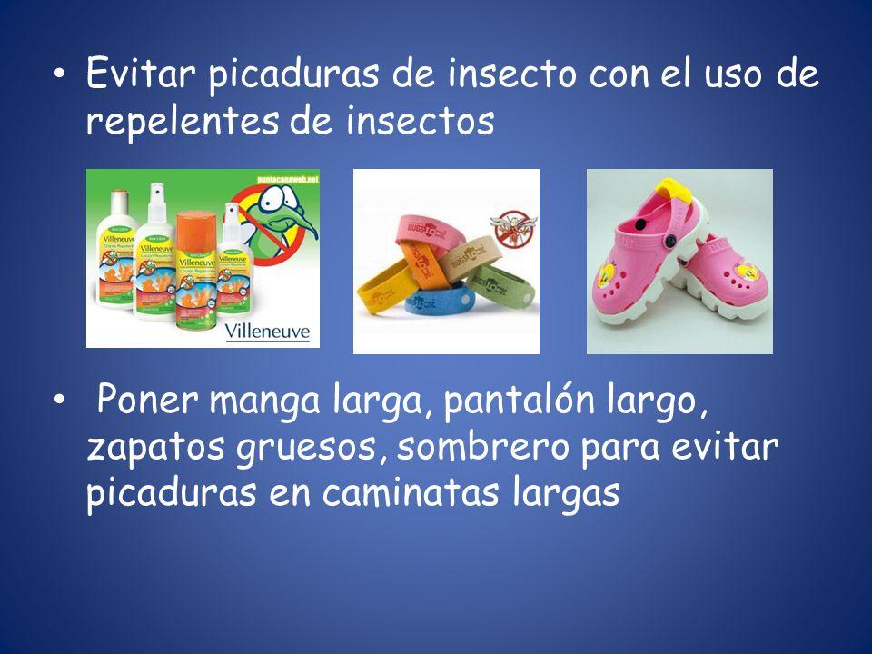 Evitar picaduras de insecto con el uso de repelentes de insectos Poner manga larga, pantalón largo, zapatos gruesos, sombrero para evitar picaduras en