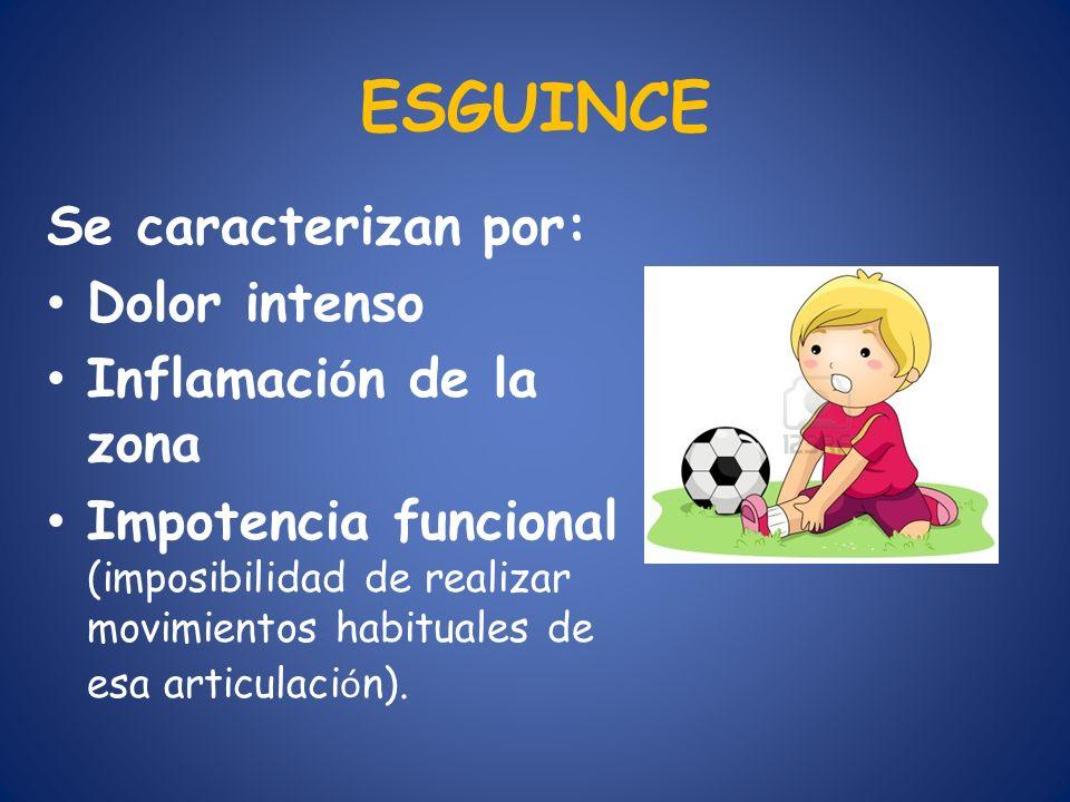 ESGUINCE Se caracterizan por: Dolor intenso Inflamaci ó n de la zona Impotencia funcional (imposibilidad de realizar movimientos habituales de esa art