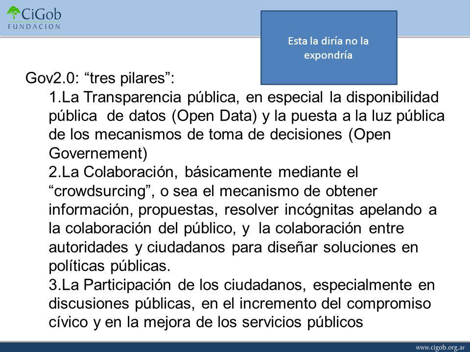 Gov2.0: tres pilares: 1.La Transparencia pública, en especial la disponibilidad pública de datos (Open Data) y la puesta a la luz pública de los mecan