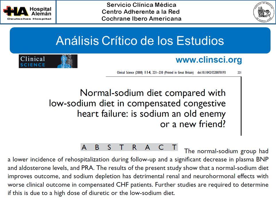 Servicio Clínica Médica Centro Adherente a la Red Cochrane Ibero Americana Análisis Crítico de los Estudios