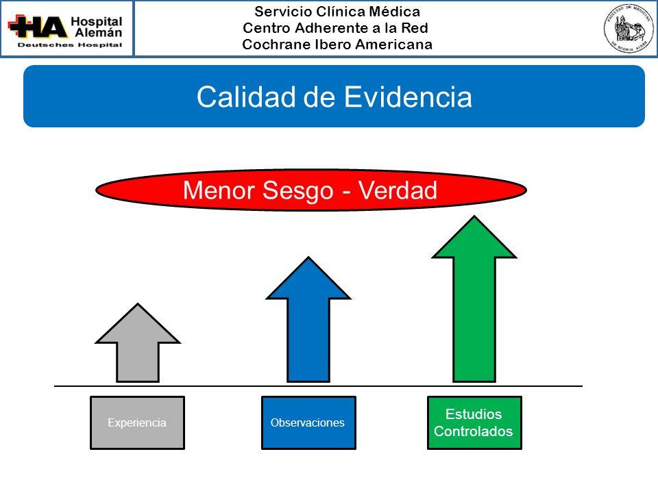 Servicio Clínica Médica Centro Adherente a la Red Cochrane Ibero Americana Menor Sesgo - Verdad ExperienciaObservaciones Estudios Controlados Calidad