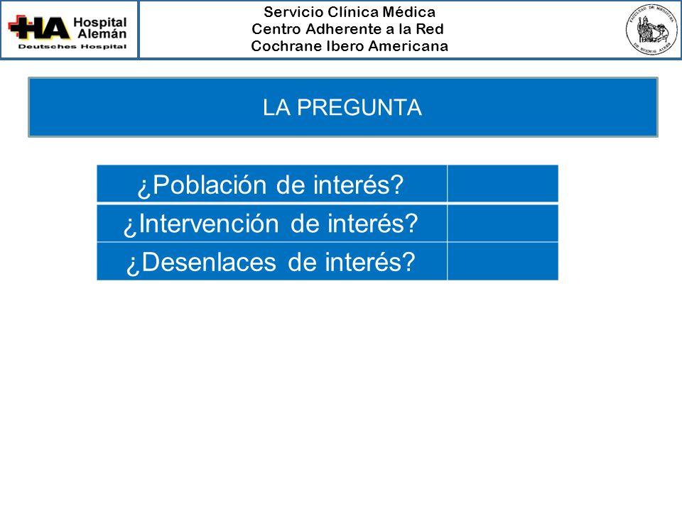 Servicio Clínica Médica Centro Adherente a la Red Cochrane Ibero Americana ¿Población de interés? ¿Intervención de interés? ¿Desenlaces de interés? LA