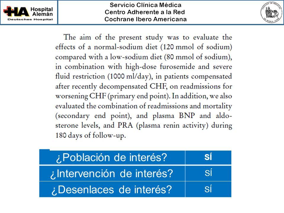 Servicio Clínica Médica Centro Adherente a la Red Cochrane Ibero Americana ¿Población de interés? SÍ ¿Intervención de interés? SÍ ¿Desenlaces de inter