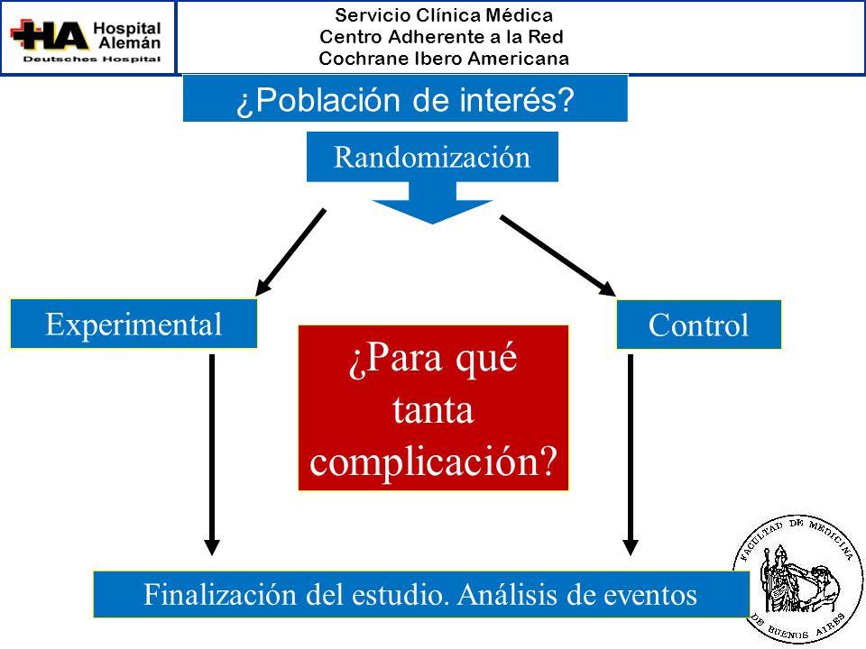 Servicio Clínica Médica Centro Adherente a la Red Cochrane Ibero Americana Randomización Experimental Control Finalización del estudio. Análisis de ev