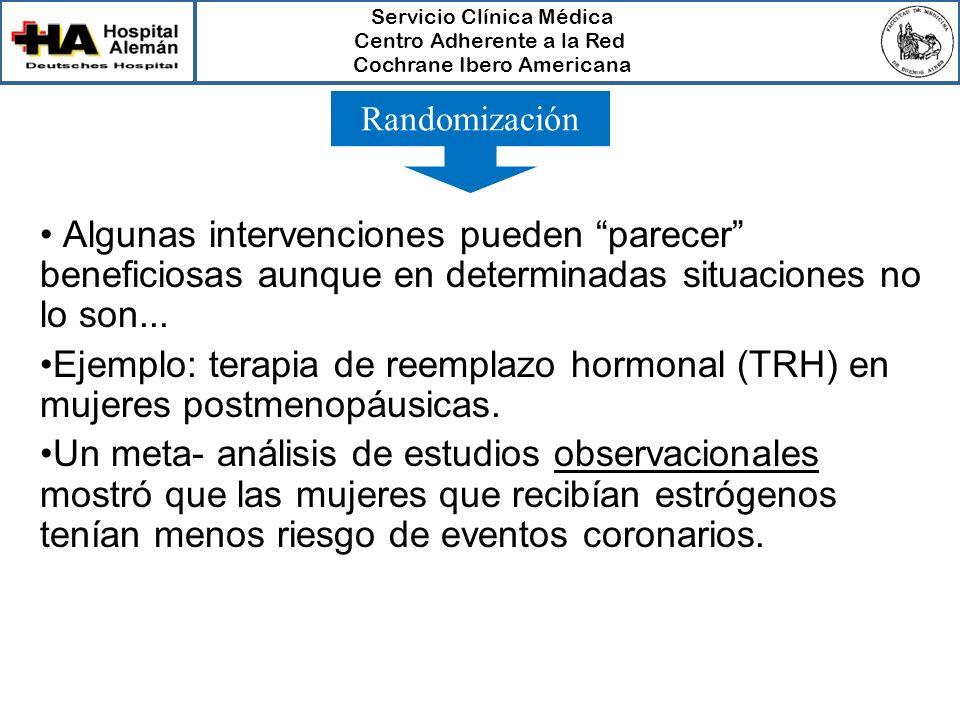 Servicio Clínica Médica Centro Adherente a la Red Cochrane Ibero Americana Algunas intervenciones pueden parecer beneficiosas aunque en determinadas s