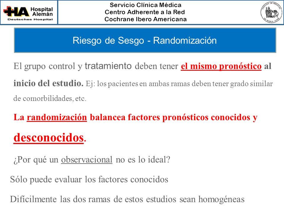 Servicio Clínica Médica Centro Adherente a la Red Cochrane Ibero Americana Riesgo de Sesgo - Randomización El grupo control y tratamiento deben tener