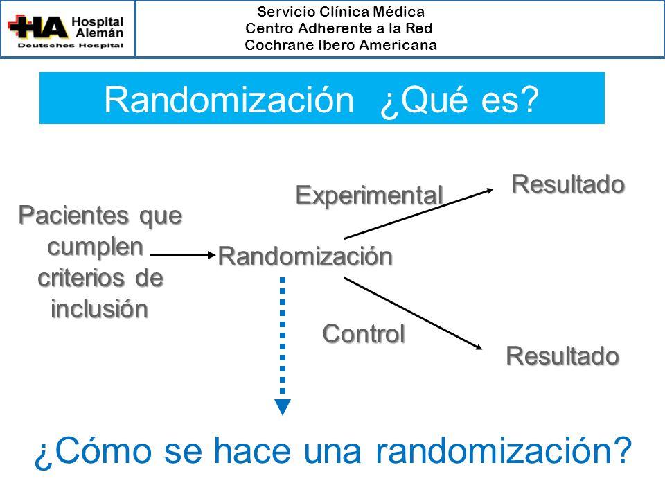 Servicio Clínica Médica Centro Adherente a la Red Cochrane Ibero Americana Randomización ¿Qué es? Pacientes que Pacientes quecumplen criterios de incl