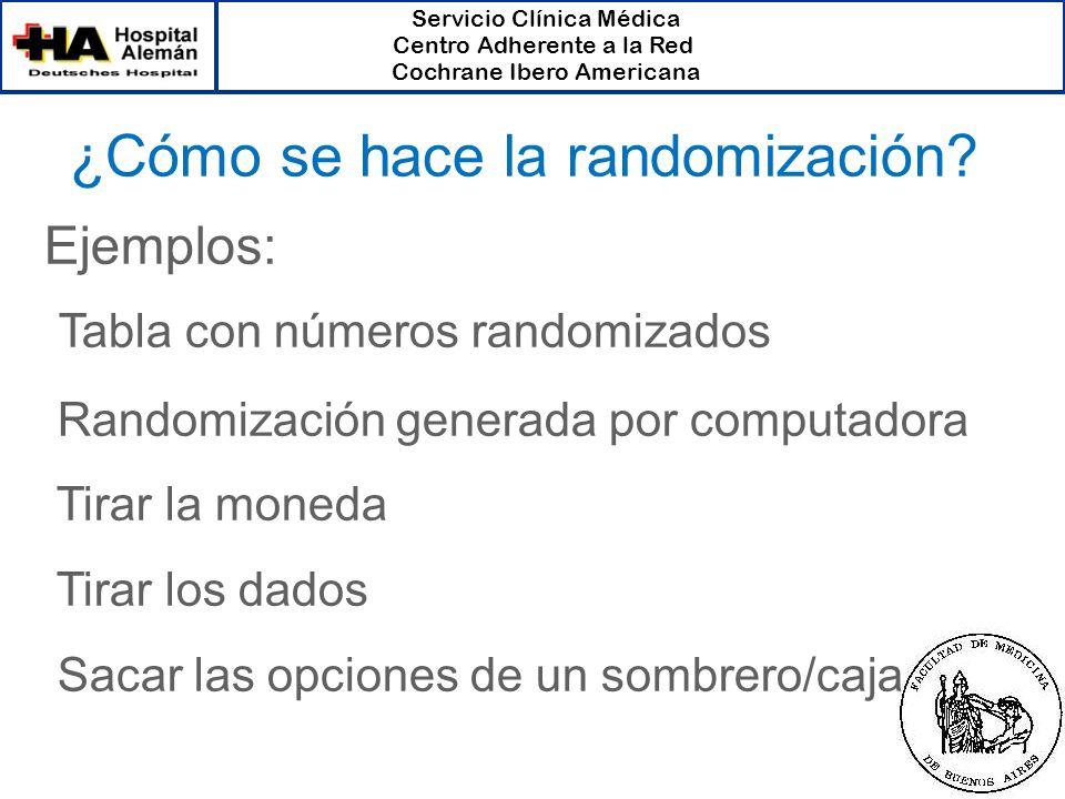 Servicio Clínica Médica Centro Adherente a la Red Cochrane Ibero Americana ¿Cómo se hace la randomización? Ejemplos: Tabla con números randomizados Ra