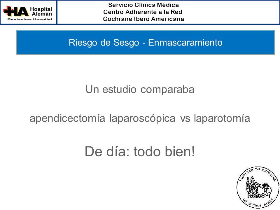 Servicio Clínica Médica Centro Adherente a la Red Cochrane Ibero Americana Un estudio comparaba apendicectomía laparoscópica vs laparotomía De día: to