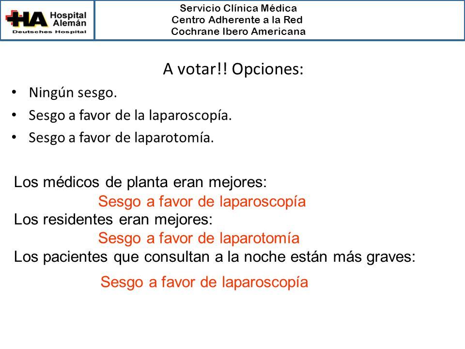 Servicio Clínica Médica Centro Adherente a la Red Cochrane Ibero Americana Los médicos de planta eran mejores: Los residentes eran mejores: Los pacien