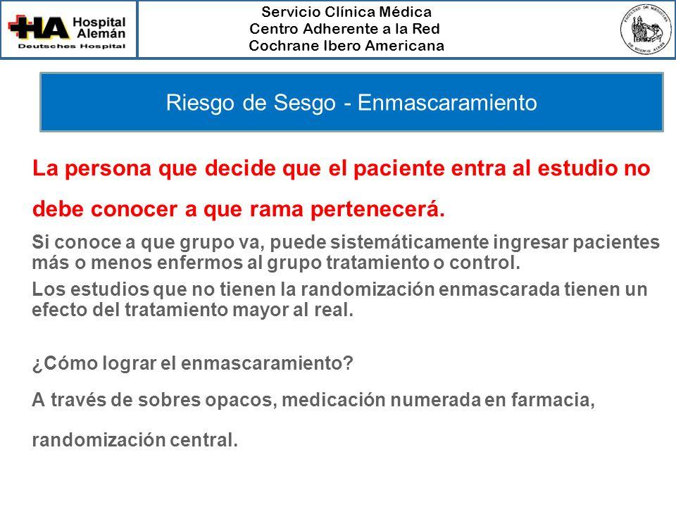Servicio Clínica Médica Centro Adherente a la Red Cochrane Ibero Americana Riesgo de Sesgo - Enmascaramiento La persona que decide que el paciente ent