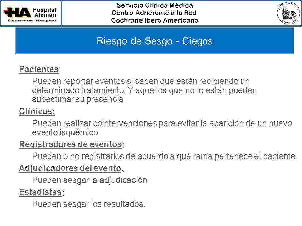 Servicio Clínica Médica Centro Adherente a la Red Cochrane Ibero Americana Riesgo de Sesgo - Ciegos Pacientes: – Pueden reportar eventos si saben que