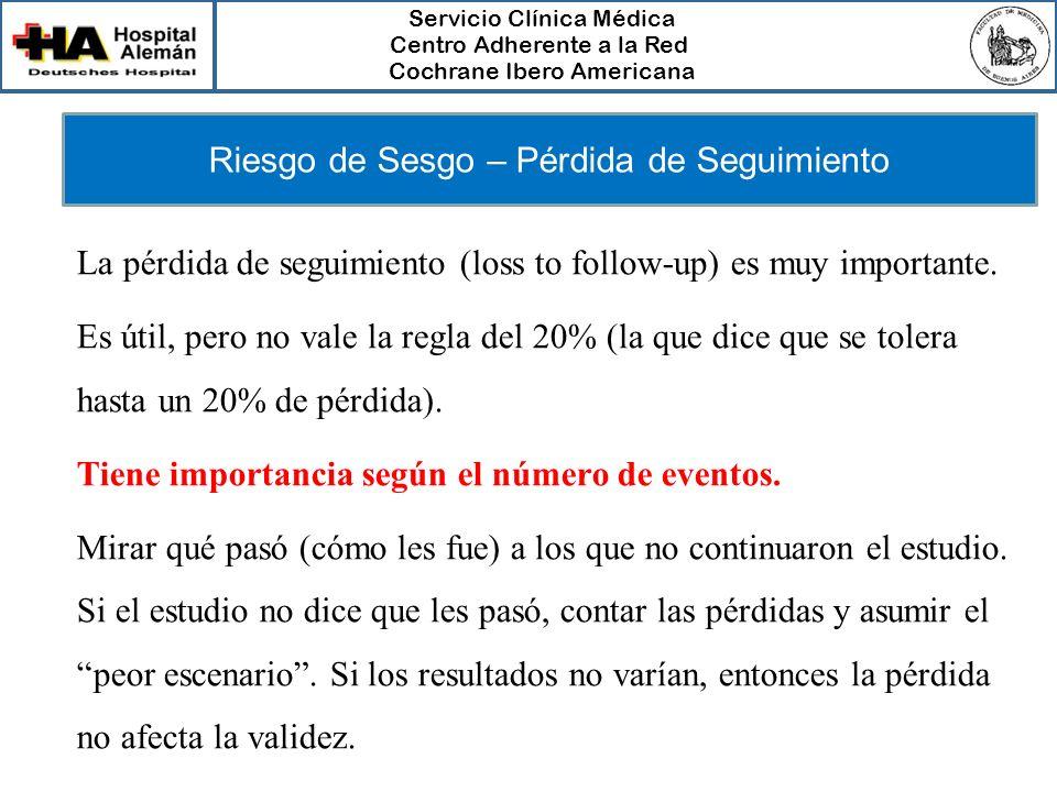 Servicio Clínica Médica Centro Adherente a la Red Cochrane Ibero Americana Riesgo de Sesgo – Pérdida de Seguimiento La pérdida de seguimiento (loss to