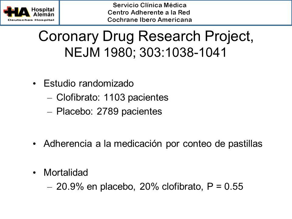 Servicio Clínica Médica Centro Adherente a la Red Cochrane Ibero Americana Coronary Drug Research Project, NEJM 1980; 303:1038-1041 Estudio randomizad