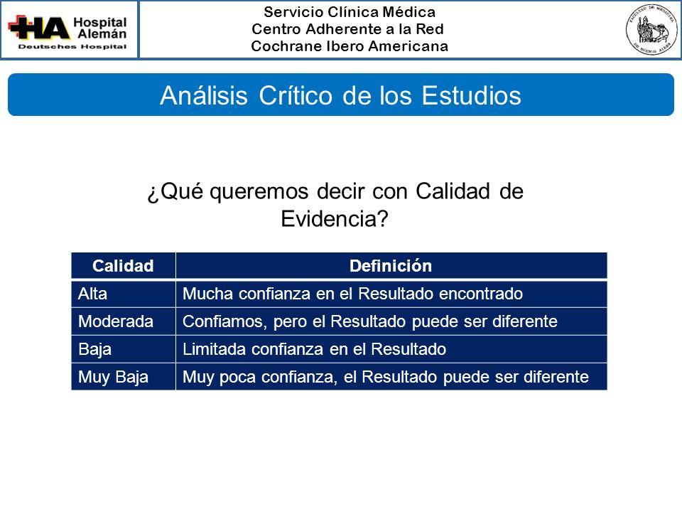 Servicio Clínica Médica Centro Adherente a la Red Cochrane Ibero Americana CalidadDefinición AltaMucha confianza en el Resultado encontrado ModeradaCo