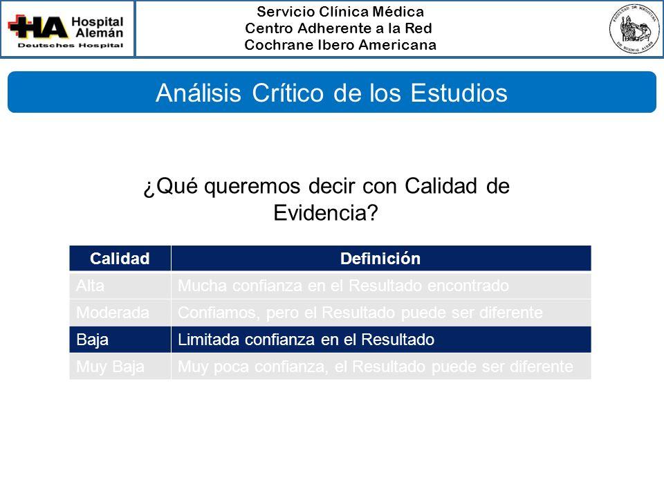 Servicio Clínica Médica Centro Adherente a la Red Cochrane Ibero Americana Análisis Crítico de los Estudios CalidadDefinición AltaMucha confianza en e