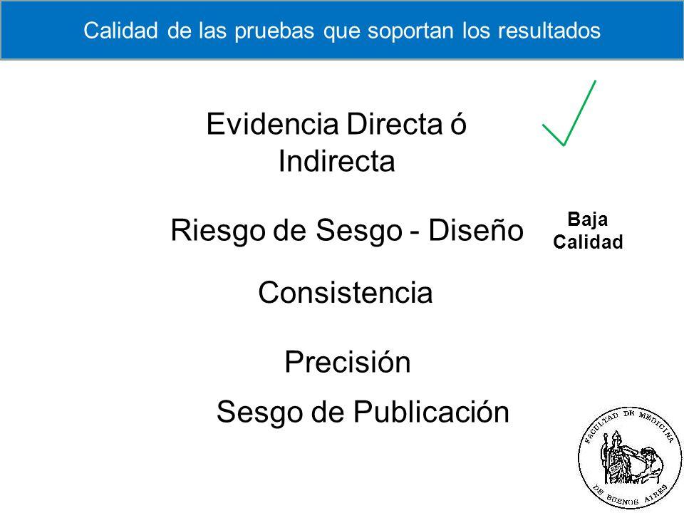 Servicio Clínica Médica Centro Adherente a la Red Cochrane Ibero Americana Riesgo de Sesgo - Diseño Consistencia Precisión Evidencia Directa ó Indirec