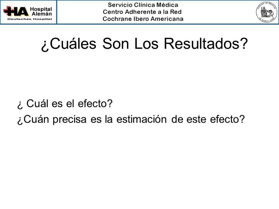 Servicio Clínica Médica Centro Adherente a la Red Cochrane Ibero Americana ¿Cuáles Son Los Resultados? ¿ Cuál es el efecto? ¿Cuán precisa es la estima