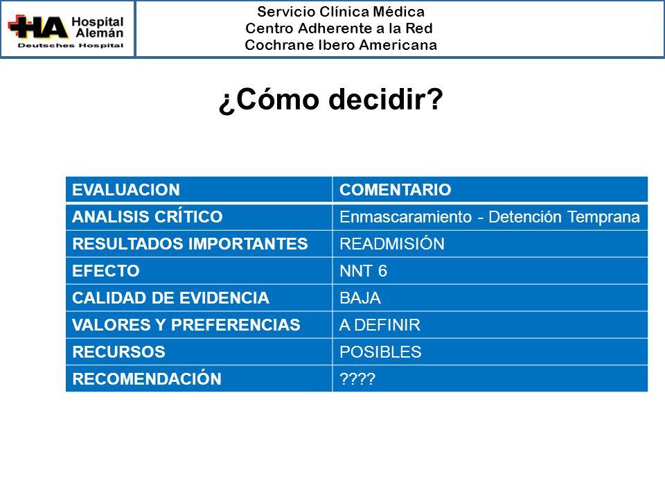 Servicio Clínica Médica Centro Adherente a la Red Cochrane Ibero Americana EVALUACIONCOMENTARIO ANALISIS CRÍTICOEnmascaramiento - Detención Temprana R