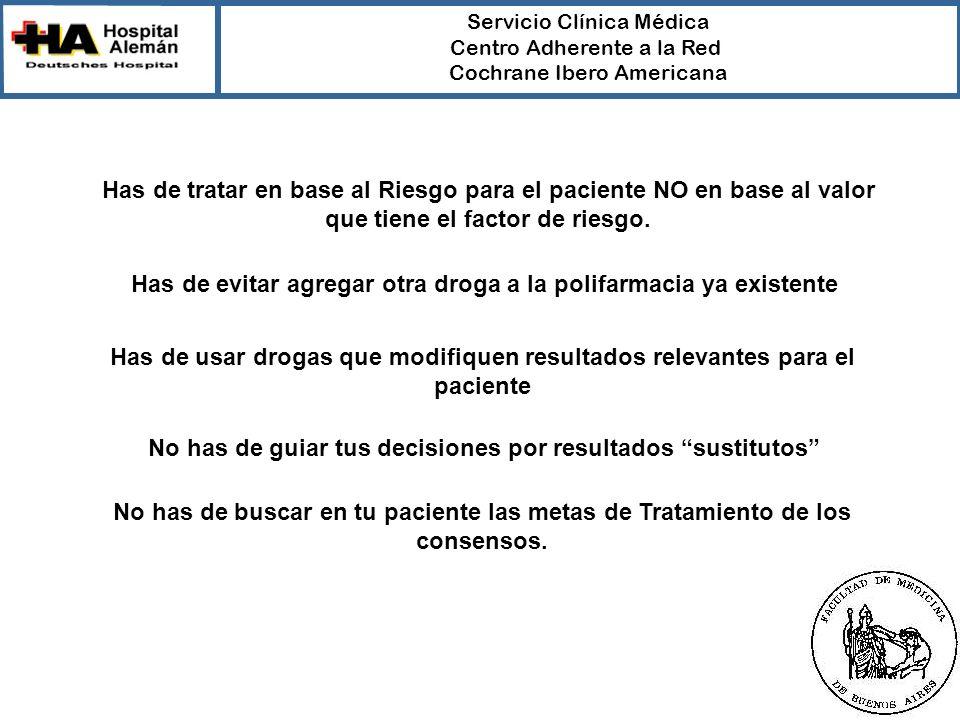 Servicio Clínica Médica Centro Adherente a la Red Cochrane Ibero Americana Has de tratar en base al Riesgo para el paciente NO en base al valor que ti