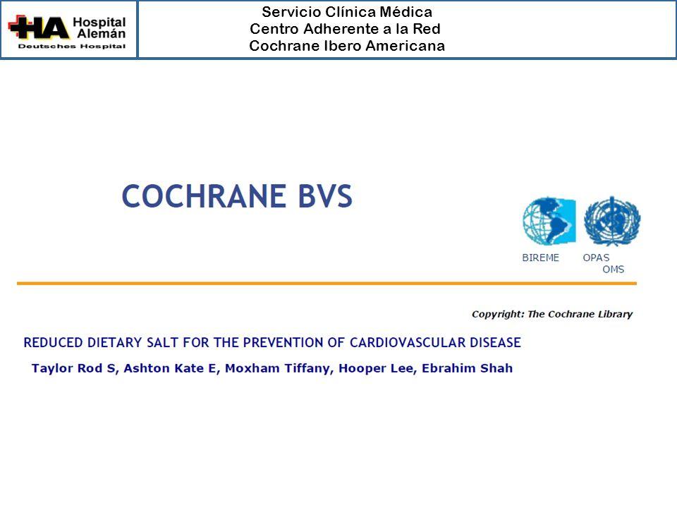 Servicio Clínica Médica Centro Adherente a la Red Cochrane Ibero Americana