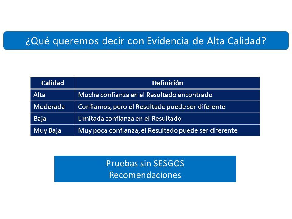 Servicio Clínica Médica Centro Adherente a la Red Cochrane Ibero Americana Calidad de las pruebas – Riesgo de sesgo - diseño Alta -2 (Enmascaramiento y Detención temprana) Baja
