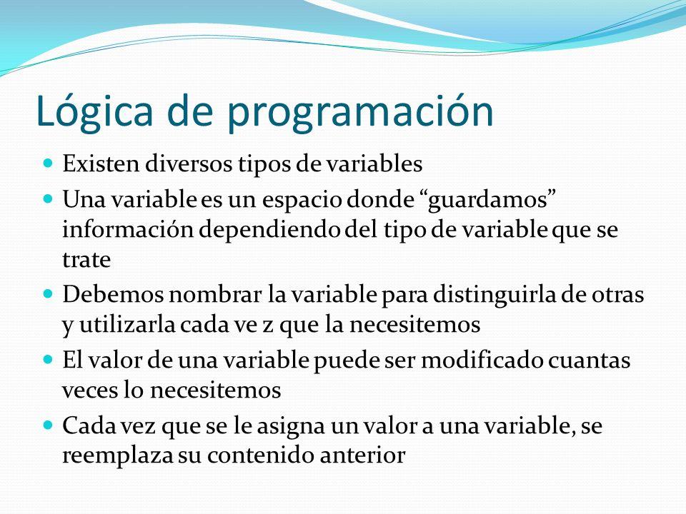 Lógica de programación Existen diversos tipos de variables Una variable es un espacio donde guardamos información dependiendo del tipo de variable que